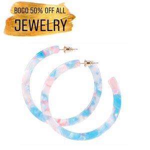 Blue Pink Marble Acrylic Circle Hoop Earrings